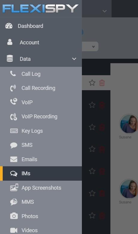 FlexiSPY Spionage App Dashboard